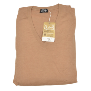 Knize Wien V-Neck Wool Sweater 44 - Camel