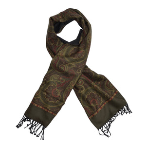 Salmone Double-Sided Silk & Wool Dress Scarf - Paisley