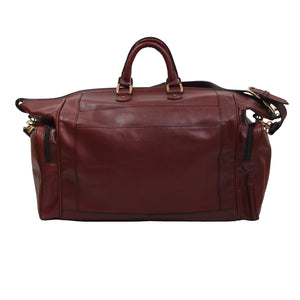 Vintage Leather Duffle Bag - Burgundy