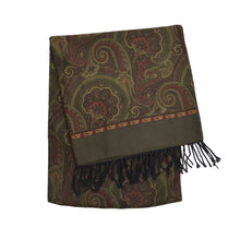 Load image into Gallery viewer, Salmone Double-Sided Silk & Wool Dress Scarf - Paisley