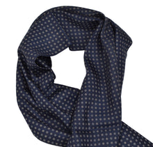 Load image into Gallery viewer, Pelo Flower Print Wool/Silk Dress Scarf - Navy