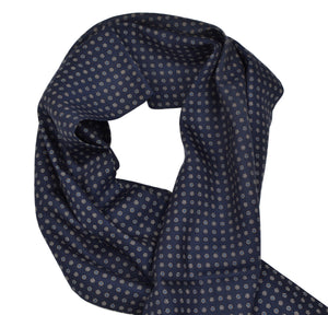Pelo Flower Print Wool/Silk Dress Scarf - Navy