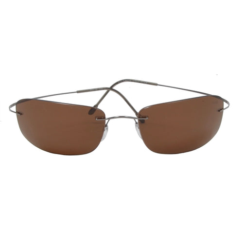 Silhouette 8610 Rimless Titanium Sunglasses - Grey & Brown