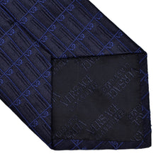 Load image into Gallery viewer, V2 Versace Spellout Silk Tie - Black & Blue