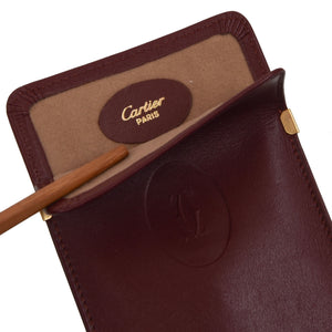 Classic Cartier Leather Sunglasses Case - Burgundy