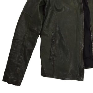 Tigha Sheep Leather Cafe Racer Jacket - Green