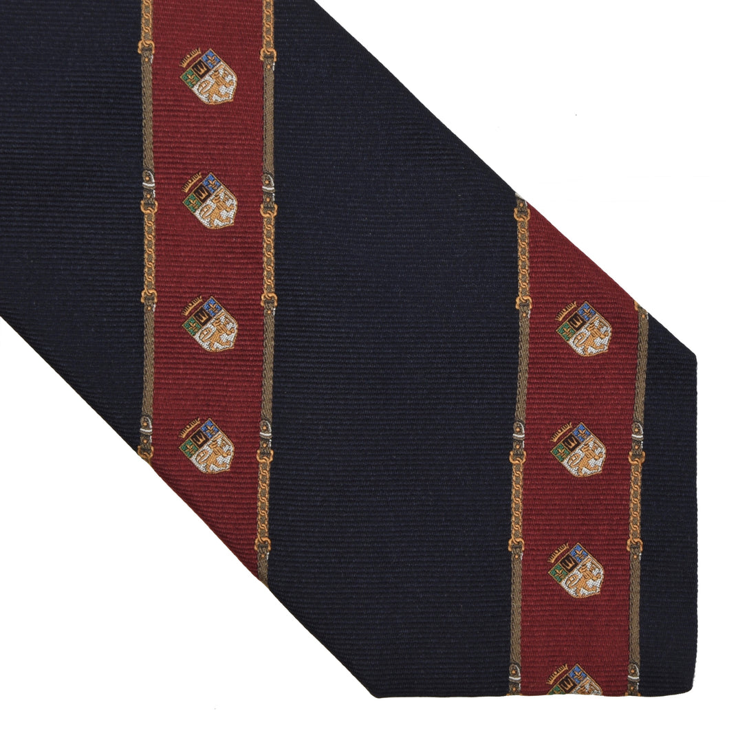 Prochownick Striped Silk Tie Coat of Arms - Navy & Red