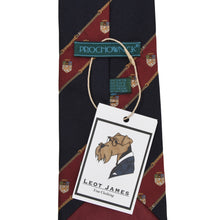 Load image into Gallery viewer, Prochownick Striped Silk Tie Coat of Arms - Navy & Red