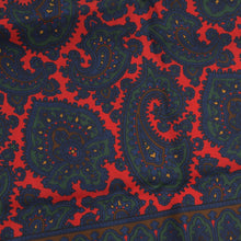 Load image into Gallery viewer, Wool/Silk Paisley Dress Scarf - Red/Blue/Green
