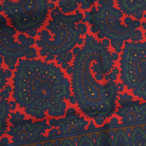 Wool/Silk Paisley Dress Scarf - Red/Blue/Green