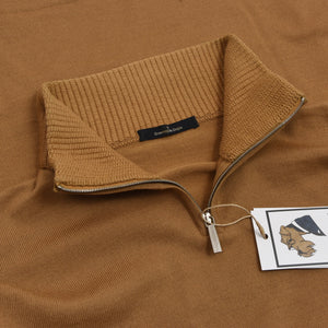 Ermenegildo Zegna 1/4 Zip Wool Sweater Size L - Caramel Brown