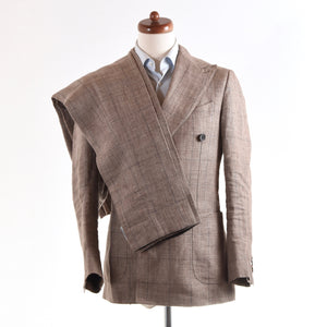 SuitSupply Double-Breasted Linen Suit Size 44 - Brown