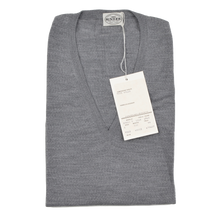 Load image into Gallery viewer, Knize Wien V-Neck Wool Sweater Vest 46 XL - Heather Grey
