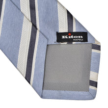 Load image into Gallery viewer, Kiton Napoli 7 Fold Striped Tie - Blue
