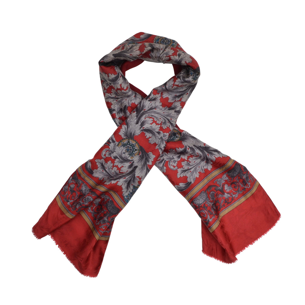 Double-Sided Silk Wool Dress Scarf - Red Floral