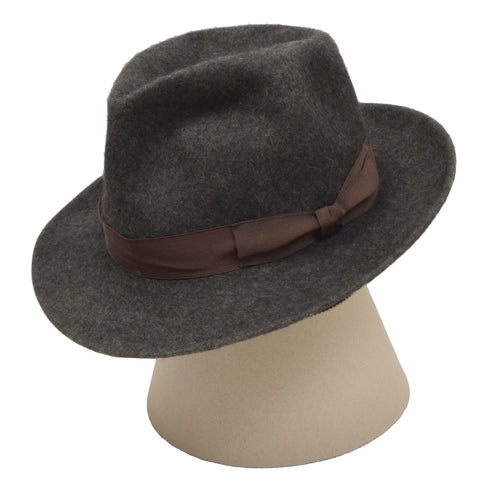 Borsalino Unlined Fur Felt Hat Size 61 - Grey