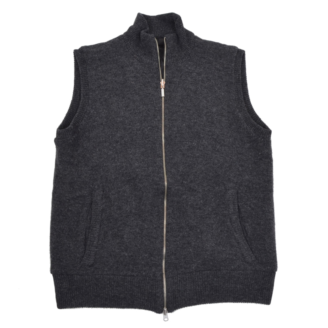 Reversible Wool Quilted Zip Vest - Grey/Black