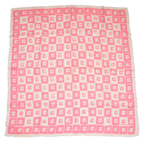 Givenchy Paris 90cm Silk Scarf - Pink & White