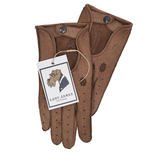 Classic Unlined Leather Driving Gloves Size 8 - Brown