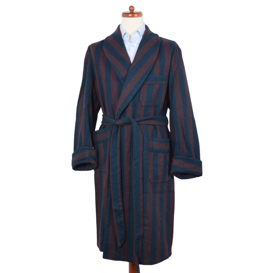 Vintage Unlined Robe - Burgundy & Navy Stripe