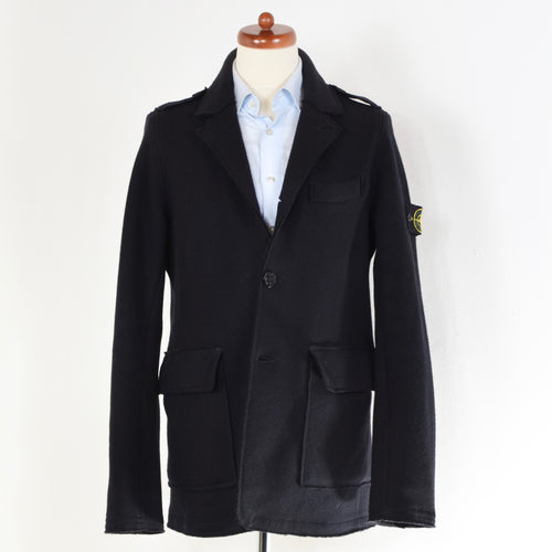Stone Island Boiled Wool Jacket - Navy