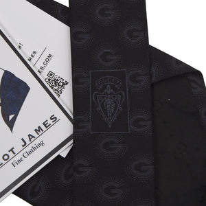 Gucci Monogram Tie - Black/Charcoal