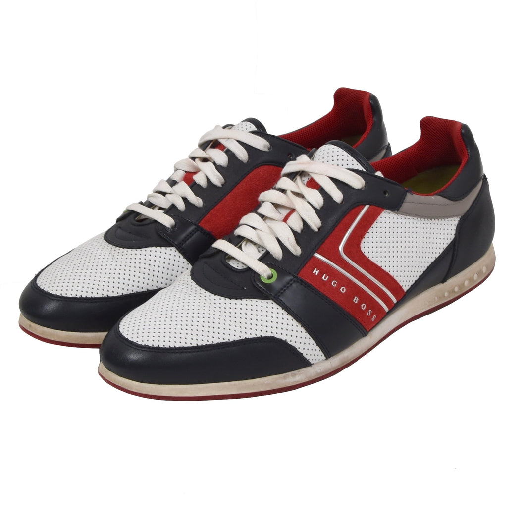 Hugo Boss Leather Sneakers Size 43 - White, Red, Blue