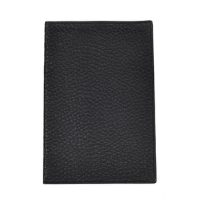 Pebble Grain Leather Passport Case/Wallet - Black