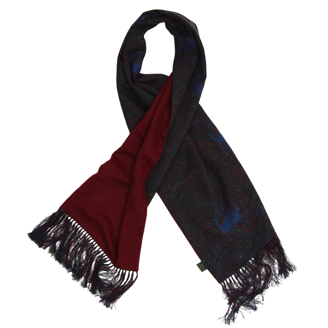 Drake's London Ancient Madder Silk & Cashmere/Wool Dress Scarf - Paisley