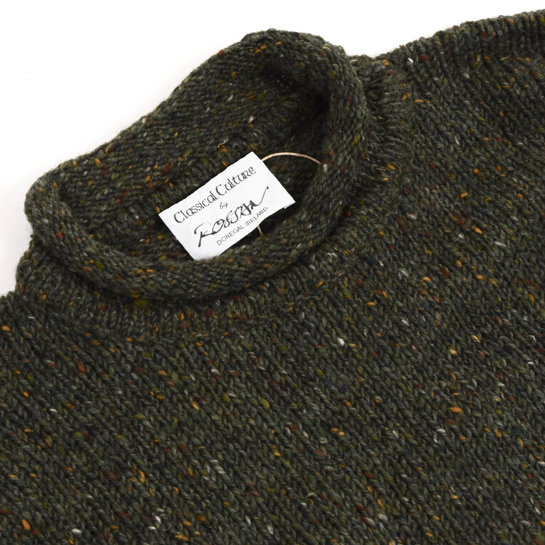 Rossan Donegal Irish Wool Sweater Size - Flecked Green