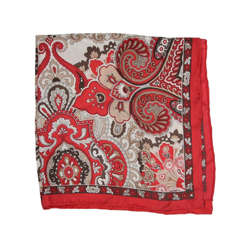 Passigatti Handrolled Silk Pocket Square - Red Paisley