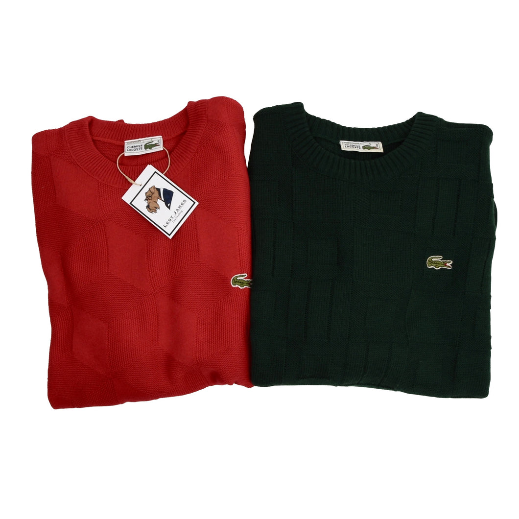 2x Vintage Lacoste Sweaters Size 6 - Red & Green