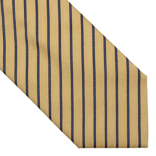 DAKS London Striped Silk Tie - Gold/Yellow & Navy