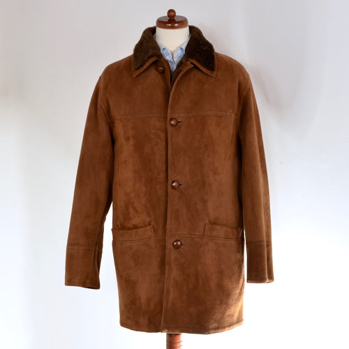 Original Shearling Leather Coat Size 50 - Tobacco Brown