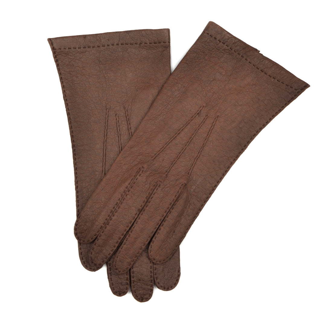 Unlined Peccary Gloves Size 8 1/2 - Dark Brown