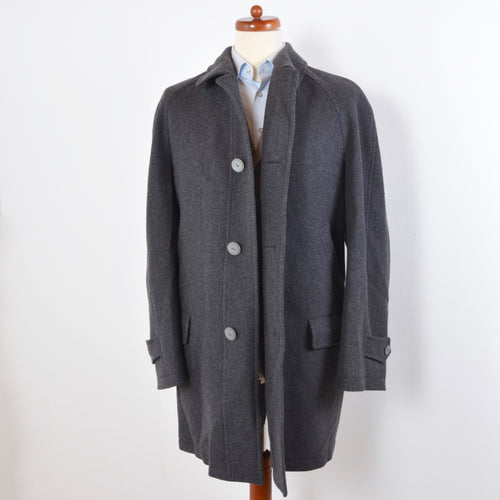 Facis Piacenza Wool Coat Size 54 - Blue-Grey