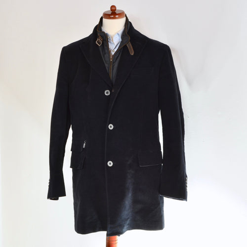 Massimo Dutti Coat Zip Out Collar Size 56 Slim - Navy