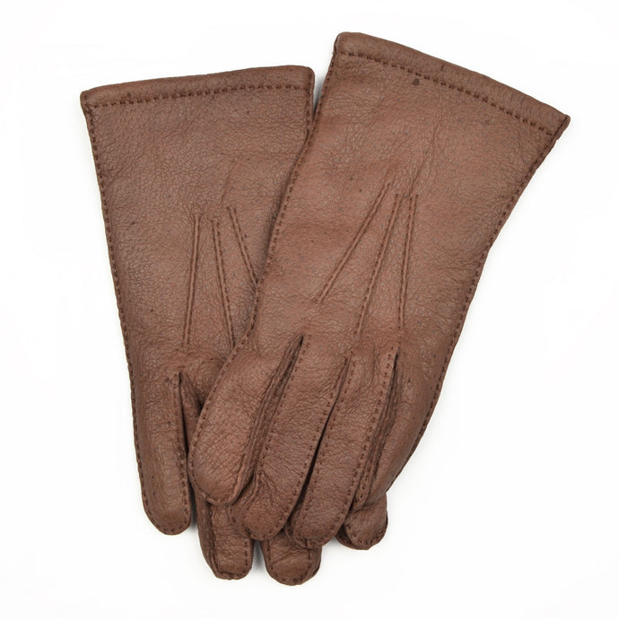 Wool-Lined Peccary Gloves Size 8 1/2 - Dark Brown
