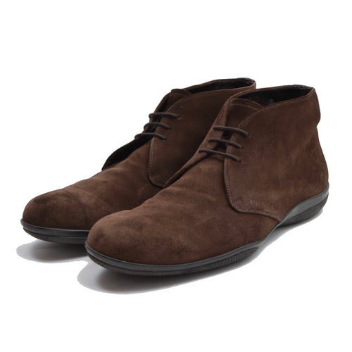Prada Milano Suede Chukka Boots Size 10 - Chocolate Brown