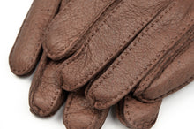 Load image into Gallery viewer, Wool-Lined Peccary Gloves Size 8 1/2 - Dark Brown