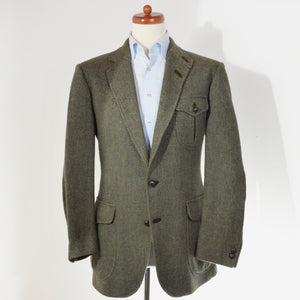 DAKS London Shetland Wool Tweed Jacket Size 52 - Green