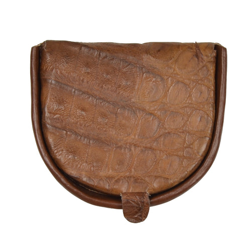 Classic Genuine Crocodile Coin Wallet - Brown