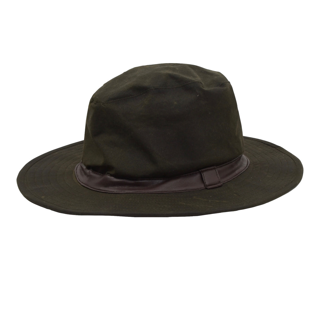 Barbour D592 Bushman Waxed Hat Size S-M - Green