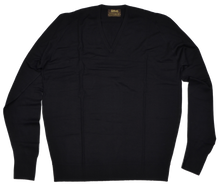 Load image into Gallery viewer, Coxmoore of England for P.C. Leschka & Co. V-Neck Wool Sweater 46 XL - Black