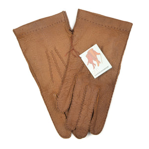 Unlined Peccary Gloves Size 8 1/2 - Tan