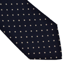 Load image into Gallery viewer, Knize Wien Wool Challis Tie - Navy Pindot