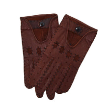 Load image into Gallery viewer, Unlined Leather Driving Gloves - Burgundy/Brown