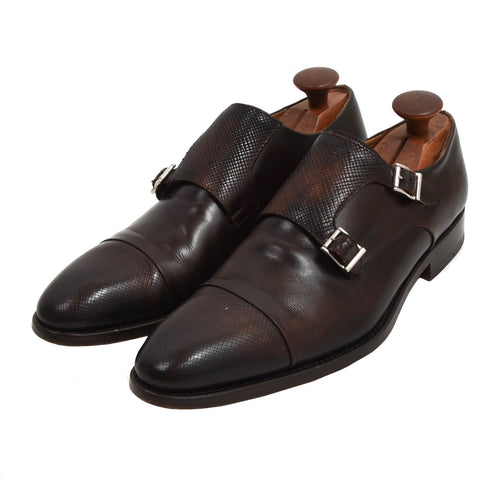 Magnanni Double Monk Shoes Size 42 - Brown