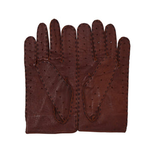 Unlined Leather Driving Gloves - Burgundy/Brown