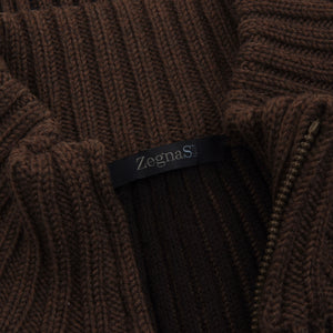 Ermenegildo Zegna Sport Wool Zip Cardigan Sweater Size M - Brown